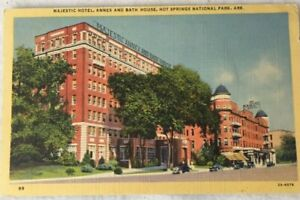 Hot-Springs-National-Park-Postcard-MAJESTIC-HOTEL-Annex-amp-Bath-House-Linen-1946