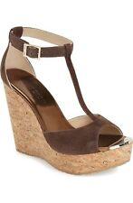 New $525 Jimmy Choo Pela T-Strap Brown Suede Cork Wedge Sandal 37.5/7