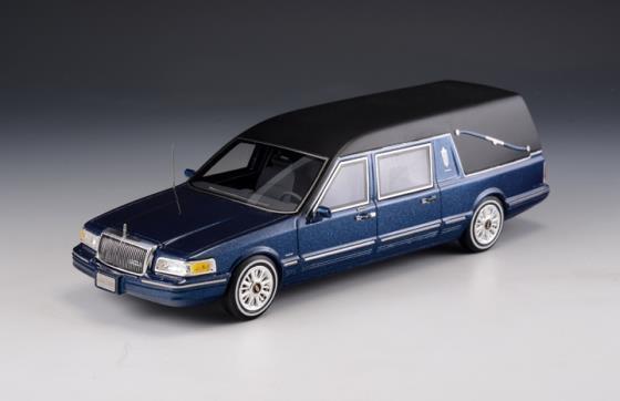 GLM GLM43102702 - Lincoln Towncar véhicule funéraire bleu métallisé - 1997  1/43
