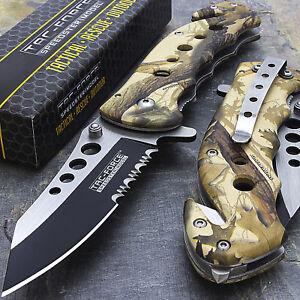 "7.75"" TAC FORCE CAMO SPRING ASSISTED FOLDING KNIFE Blade Pocket Tactical Open"