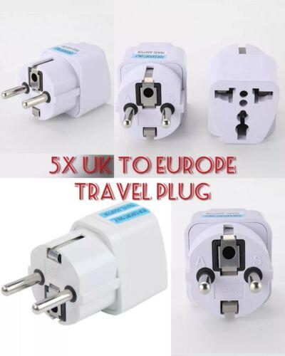 5 x UK to EU Europe Power 2 Pin Adaptor Plug Converter Travel Adapter European