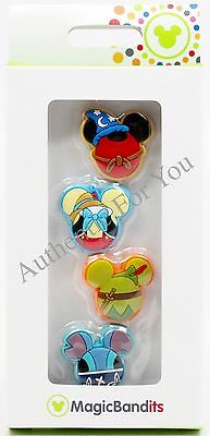 NEW Disney Sorcerer Mickey Pinocchio Peter Pan Stitch MagicBand Bandits Set of 4
