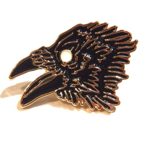 OCCULT LAPEL PIN black crow raven white luna moth enamel gothic wiccan pagan 2V