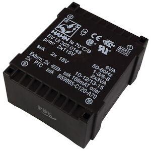 HAHN BVUI3030143 Flach-Trafo 6VA 2x115V 2x18V 2x166mA Flachtransformator 856368