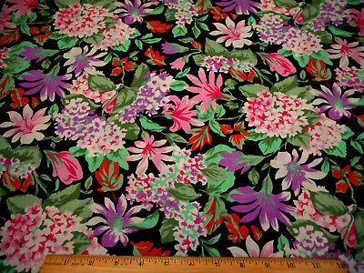 """Pink Floral on Green By 1//2 Yd Quilting Cotton 44/"""" Wide Nnancy//Erlanger B140"""