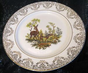3x Beautiful decorative china plates with deer and fawn approx 105 ins wide - Newent, United Kingdom - 3x Beautiful decorative china plates with deer and fawn approx 105 ins wide - Newent, United Kingdom