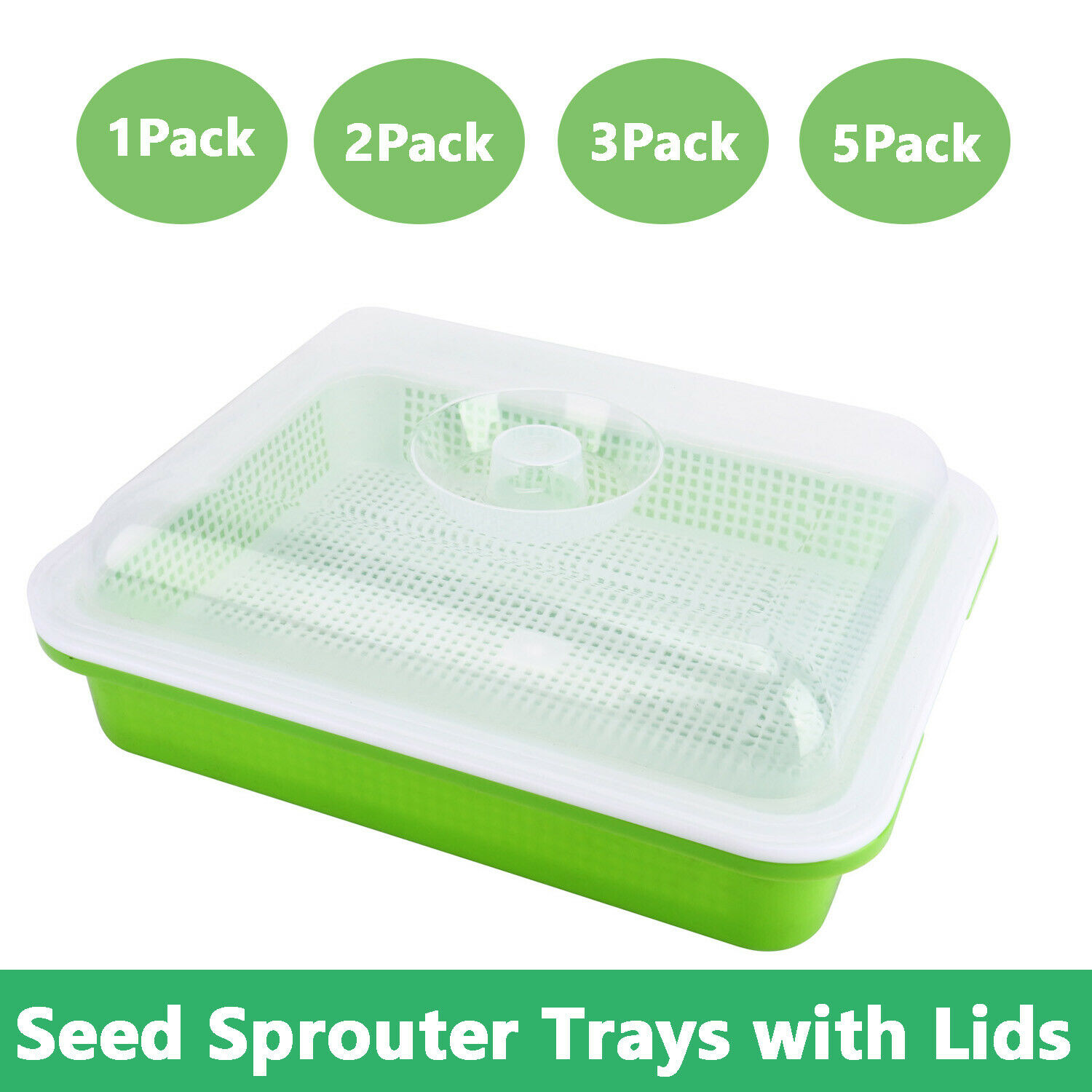 2 Pack Seed Sprouter Tray Bpa Free Pp Soil Free Big Capacity Healthy Wheatgrass Grower Sprouting Container Kit With Lid 2 Green Germination Trays Kolenik Patio Lawn Garden