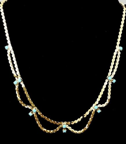 Vintage Gold Tone And Turquoise Stone Necklace