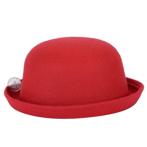 Retro Women Bowler Hat Cap Kids Girl Roll-up Brim Floppy Derby Hats Wool Like UK