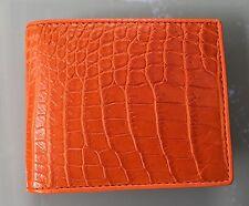 100% Genuine crocodile skin leather bifold men orange wallet