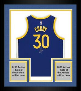 Framed Stephen Curry Golden State Warriors Signed Blue 2019/20 Swingman Jersey