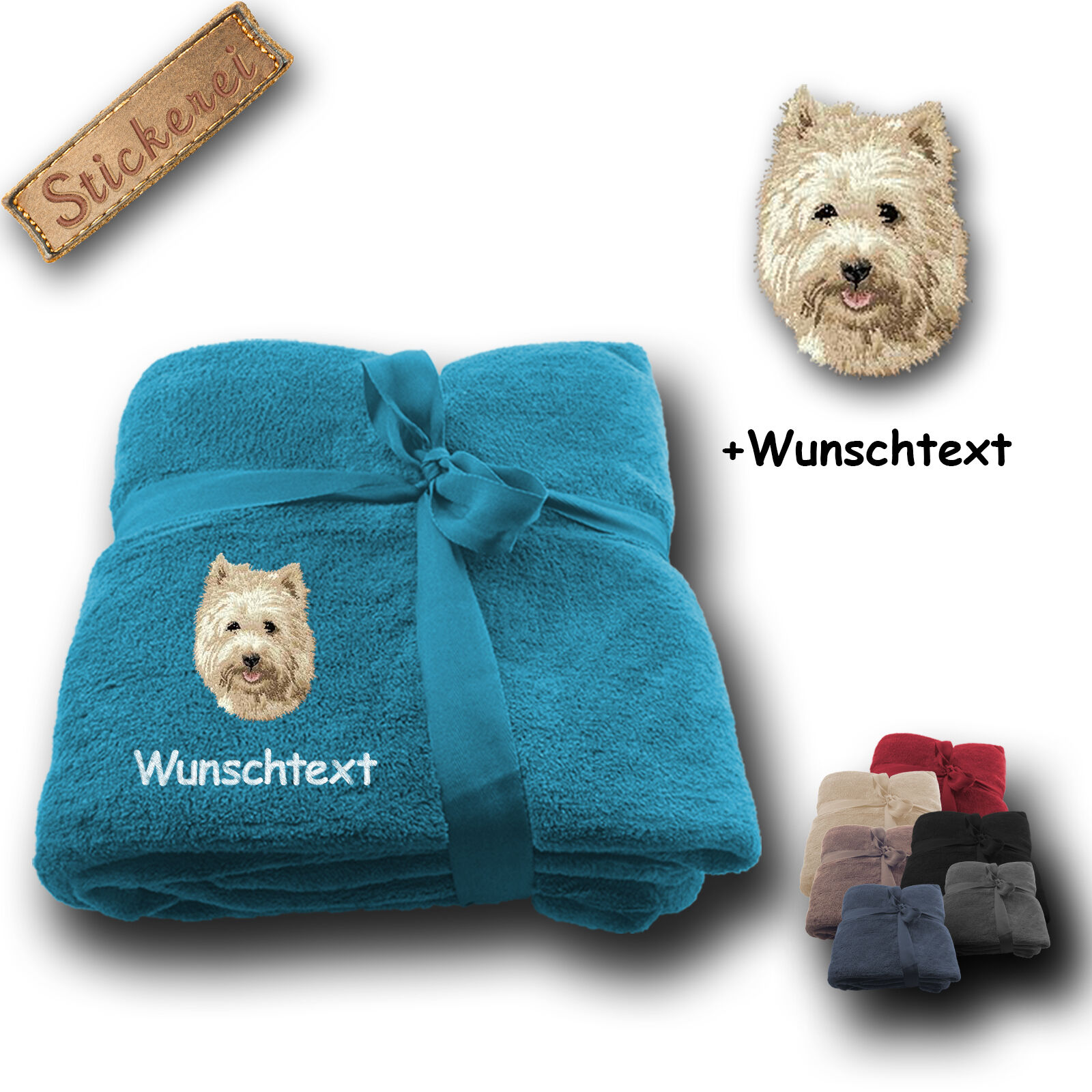 Flauschige Kuscheldecke Decke Hund Cairn Terrier +Wunschtext Stickerei 180x130cm