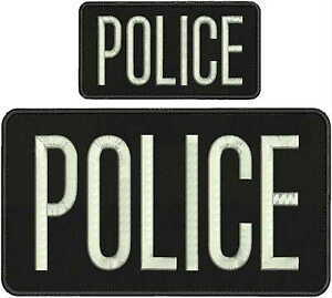 police embroidery patch 6x11 /& 3x6  hook on back black /&silver letters