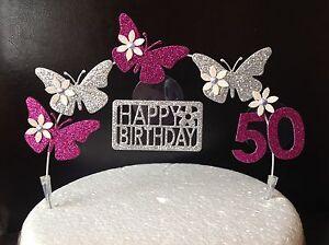 Fine Pink Silver Birthday Cake Decoration Glitter Butterfly Topper Funny Birthday Cards Online Amentibdeldamsfinfo