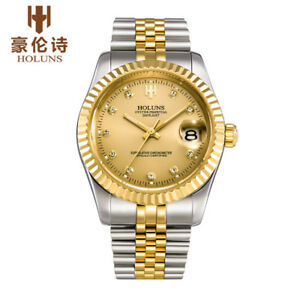 Details about HOLUNS gold full steel men watch automatic mechanical self wind watches 38mm