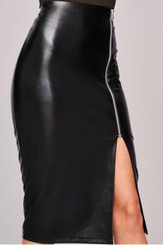 NEW LADIES WOMENS BLACK WET LOOK OLIVIA SKIRT