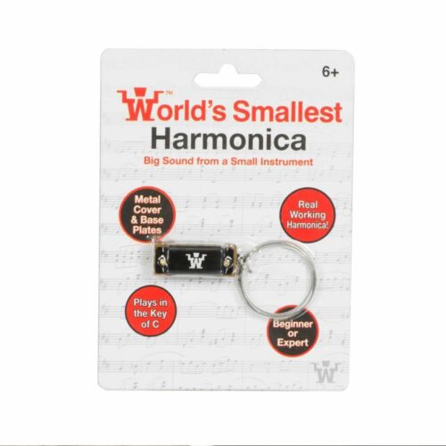 Worlds Smallest Harmonica Metal Key C Keyring Mini Musical Instrument