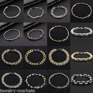 Fashion-Men-039-s-Stainless-Steel-Chain-Link-Bracelet-Wristband-Bangle-Jewelry-Punk