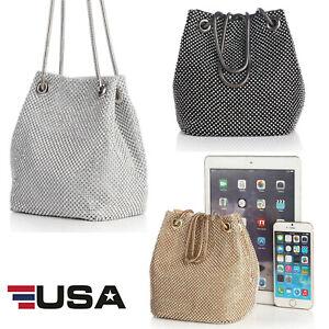 Women-039-s-Evening-Bag-Full-Rhinestones-Mini-Bucket-Shining-Crossbody-Bag-Handbags