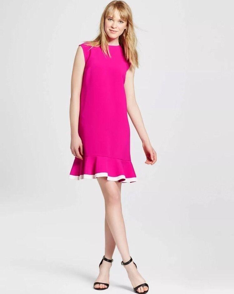 Neu Victoria Beckham Ziel Fuchsien Twill Rüschen-saum Rosa Kleid WEISS S