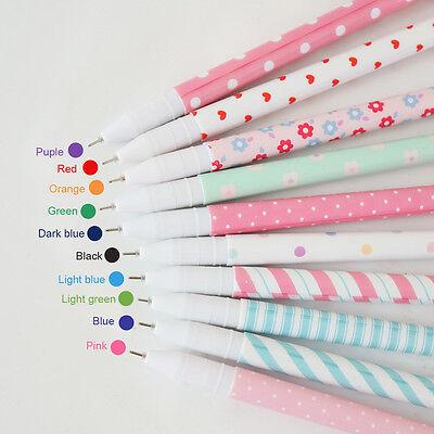 10pc Color Carton Korean Floral gel pens Ball Point Pen Point Pen School Nurses
