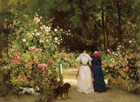 Nice oil painting portraits young women walking in the spring garden with dogs