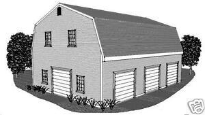 30 X 40 3 Stall Gambrel Garage Building Plans Open Walk Up Loft