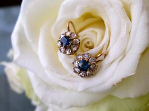 1-00Ct-Natural-Rose-Cut-Diamond-Blue-Sapphire-Floral-Earrings-In-Sterling-Silver