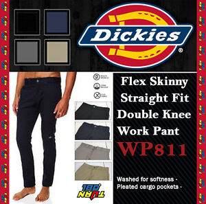 MENS-WP811-DICKIES-SKINNY-FIT-STRAIGHT-PANTS-DOUBLE-KNEE-WORK-CELL-POCKET
