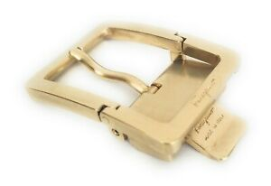 Ferragamo-Belt-Buckle-Brushed-Gold-Rare-Hinged-Rectangle