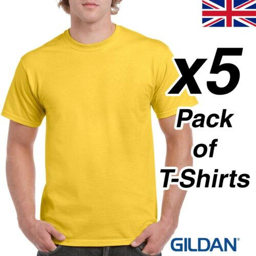 Mens Daisy Yellow T Shirt 5 Pack Gildan Heavy Cotton Tee Plain Cheap UK Work Lad