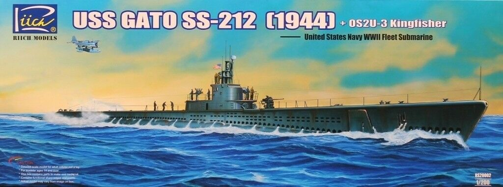 Riich 1 200 USS Gato SS-212 1944 Submarine+ OS2U-3 Kingfisher Kit  RS20002