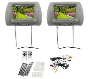 Paire-de-Rockville-RHP7-GR-7-034-Gris-TFT-LCD-appuie-tete-voiture-TV-MONITEURS-avec-haut-parleurs