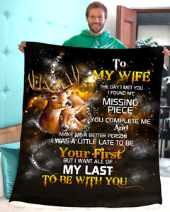 To My Wife I Found My Missing Piece Deer Couple Family Quilt,Fleece Blanket