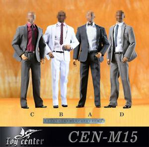 "Toy Center 1//6 CEN-M15B White Suit Clothes /& Shoes Fit 12/"" Male PH Figure Body"