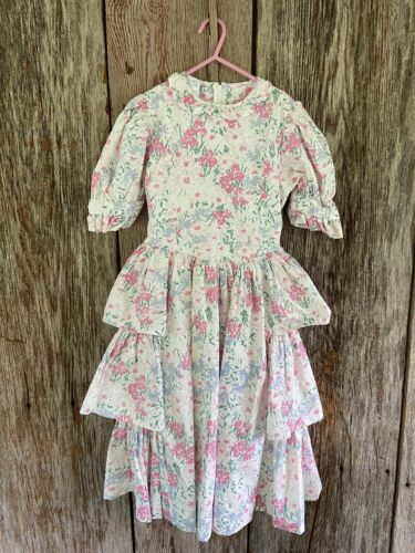 Laura Ashley Vtg Floral Tiered Puff Sleeved Layere