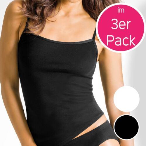 38-48  Weiss o 3er Pack Damen SPAGHETTIHEMD von Pompadour 8100//1-520-P Gr Schw