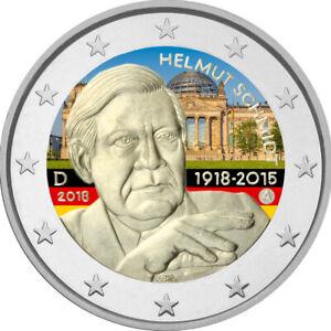 2-Euro-Gedenkmuenze-Deutschland-BRD-2018-coloriert-Farbe-Farbmuenze-H-Schmidt