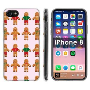 Thin Gel Phone Case For Apple iPhone8,8s,7,7s,Gingerbread Man CuteGraphic Print