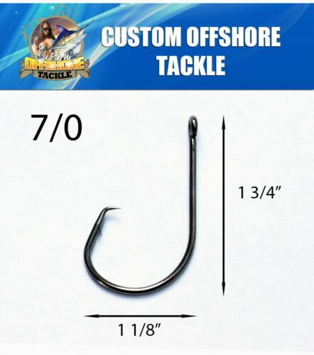 25 Size 7//0 Custom Offshore Tackle Circle Non Offset Inline Hooks 7381
