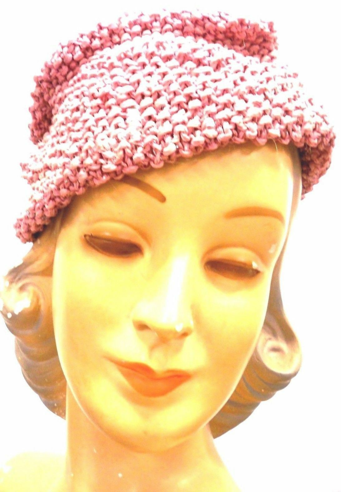 VTG Knit Hat Dusty Rose Pink Metallic Hand-Knit 1… - image 5