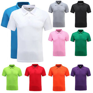 Men's Polo Collar T-shirt Cotton Sport Golf Casual Solid Short Sleeve Shirt