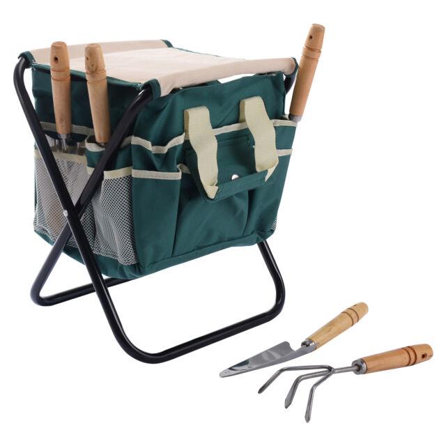 Garden Tool Bag Seat Set W Folding Storage Stool Gardening 7 Pieces Toolbag