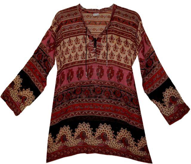 Indian boho cotton ethnic TOP HIPPIE retro gypsy BLOUSE vintage look dress TUNIC
