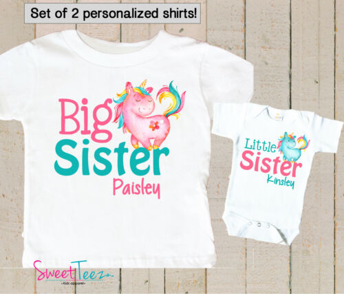 Big Sister Little Sister Shirt Set Personalized Unicorn Gift for Baby