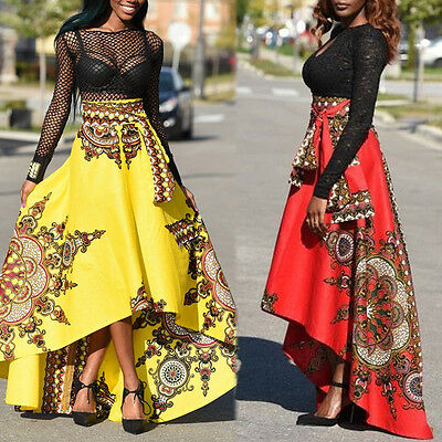 2017 African Women Printed Summer  Long Dress Beach Evening Party Maxi Skirt