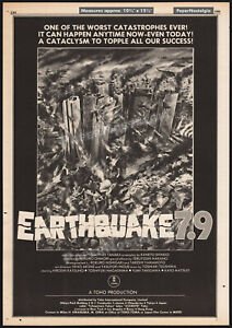 EARTHQUAKE 7.9_/_DEATHQUAKE__Orig. 1980 Trade AD / poster__HIROSHI KATSUNO__TOHO