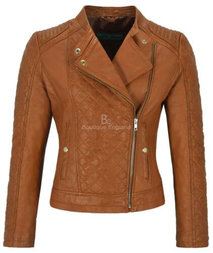 Ladies Diamond Leather Jacket Tan Fashion Biker Style Front Quilted Panel