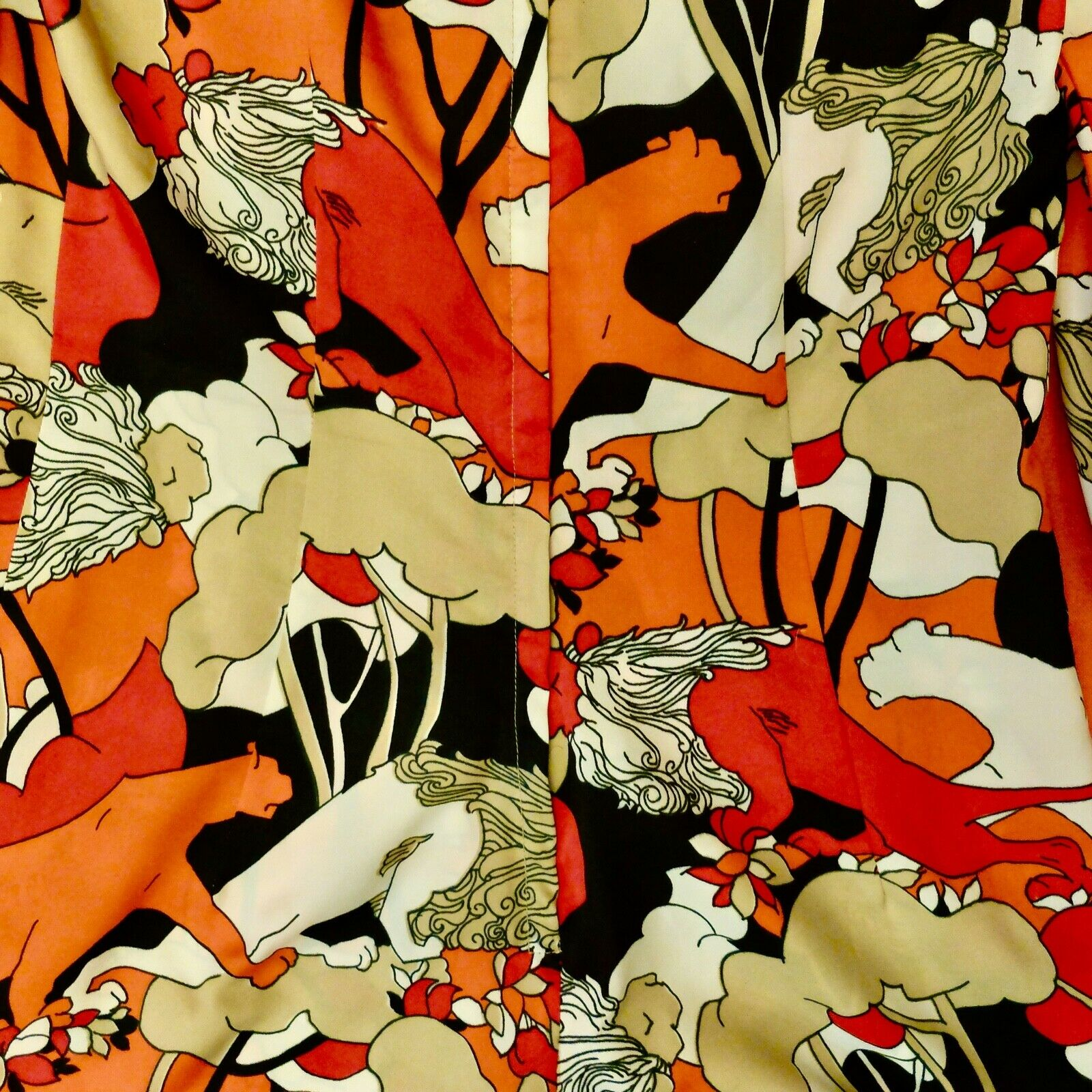 Vintage 60s 70s Handmade Psychedelic Lion Print R… - image 7