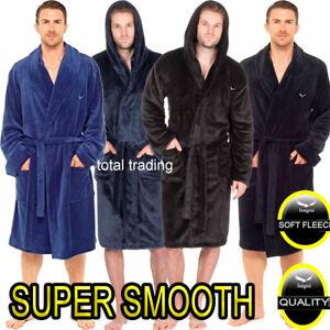 Mens-Super-Smooth-Dressing-Gown-Robe-Bathrobe-Warm-Fleece-Hooded